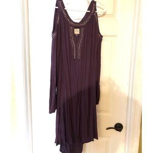 Purple Cold Shoulder Dress w/ Faux Stud Design